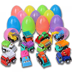 LOKIPA 12 Toy Filled Easter Egg now 50.0% off ,Easter Toy Surprised Egg Filled with Pull-Back Cons..
