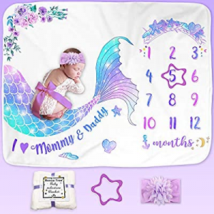 Bonsai Tree Milestone Blanket Baby Girl now 75.0% off , Mermaid Baby Monthly Milestone Photo Blank..