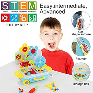 68.0% off Bldaxn Building Block Games Set with Toy Drill & Screwdriver Tool Set | Educational Buil..