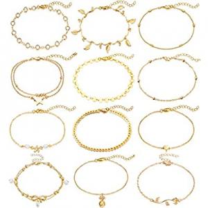 20.0% off Fesciory 12 Pcs Ankle Bracelets for Women Gold Beach Layered Adjustable Anklet Set Girls..