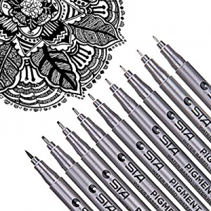 Dyvicl Black Micro-Pen Fineliner Ink Pens - Waterproof Archival Ink Micro Fine Point Drawing Pens ..