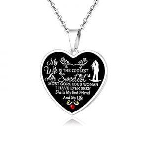 One Day Only!FAYERXL Personalized Gift Ideas to My Wife Heart Pendant Necklace now 60.0% off