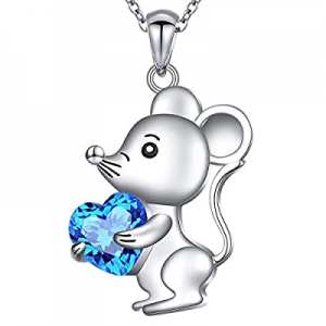 925 Sterling Silver Cute Animal Jewelry Cubic Zirconia Love Heart Pendant Necklace for Women Teen ..