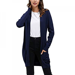 IHOT Women's Solid Open Front Long Knitted Cardigan Flowy Lightweight Sweaters with Pockets now 35..