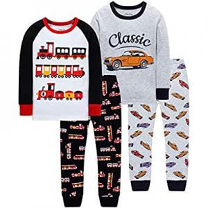 50.0% off shelry Boys Fire Trucks Pajamas Children Cars Clothes Christmas Kids 4 Pieces Pants Set ..