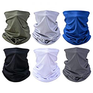 One Day Only!10.0% off Summer Face Cover UV Protection 6 Pcs Neck Gaiter Breathable Bandana Scarf ..