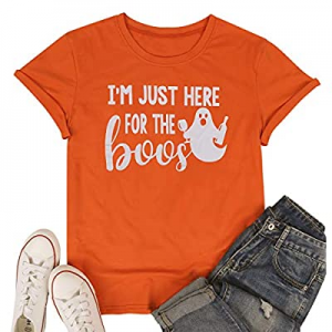 I'm Just Here for The Boos Halloween T Shirts Womens Funny Letter Printed Ghost Graphic Tee Tops n..