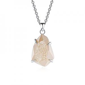 60.0% off MissNity Natural Gemstone Druzy Quartz Healing Crystal Stone Teardrop Shape Pendant Neck..