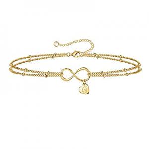 One Day Only!IEFSHINY Gold Tiny Dainty Bracelets for Women now 55.0% off , Infinity Initial Bracel..