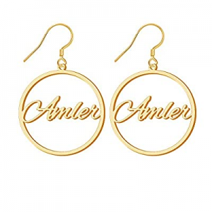 50.0% off Personalized Name Earrings for Women Custom Gold Plated Drop & Dangle Hoop Earrings with..