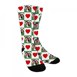 40.0% off Custom Face Socks Multiple Faces for Lovers Personalized Funny Photo on Socks with Red H..