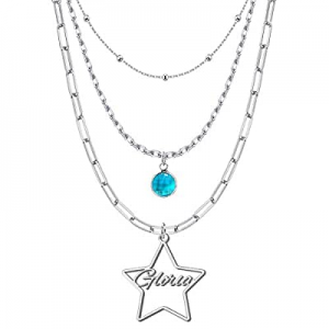 50.0% off Custom Layered Necklace with Name Multi-Layer Heart Moon Star Birthstone Daisy Name Neck..