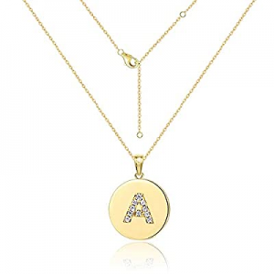 72.0% off Tiny Double-sided Initial Alphabet Pendant Necklace Personalized 18K Gold Plated A-Z Let..