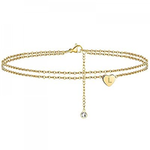50.0% off 3UMeter Gold Heart Initial Ankle Bracelet for Women Layered Beach Anklet Initial Bracele..