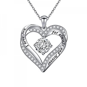 50.0% off Flyow 925 Sterling Silver Rhodium Plated Cubic Zirconia Forever Love Heart Pendant Neckl..