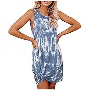 One Day Only!Women's Casual Tie Dye Short Dress Crew Neck Sleeveless Loose T Shirt Mini Dress now ..
