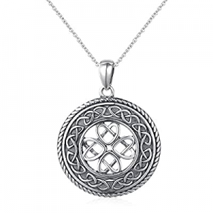 925 Sterling Silver Jewelry Oxidized Good Luck Irish Knot Celtic Medallion Round Pendant Necklace ..