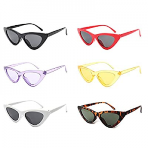 50.0% off 6 Pack Retro Tiny Cateye Sunglasses Transparent Candy Color Eyewear Clout Costume Access..