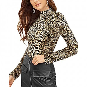 VOTEPRETTY Womens Long Sleeve Shirt Leopard Print Turtleneck Casual Tops now 35.0% off