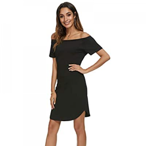 Missufe Women's Short Sleeve Fitted Casual Short Mini T Shirt Dress now 40.0% off