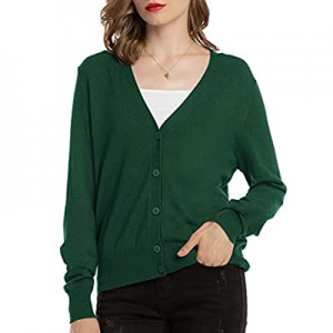 40.0% off Woolen Bloom Womens V Neck Button Down Cardigan Sweaters Long Sleeve Lightweight Spring ..
