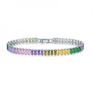 55.0% off EEPIRR Colorful Rectangle Shape AAA+ CZ Diamond TennisBracelet forWomen 18K White Gold..