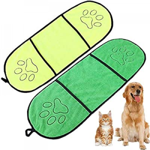 One Day Only!50.0% off WAFUNNE 2pcs Dog Bath Towel Set with Pockets Microfiber Super Absorbant for..