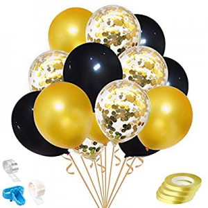 40.0% off Rutien 60PCS Gold Confetti Balloons Set 12 inch Gold Black Latex Balloons 3.2g/PC with 4..
