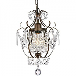 One Day Only!15.0% off Derksic Mini Crystal Chandelier Antique Bronze Chandeliers 1 Light Iron Cei..