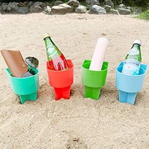 Home Queen Beach Cup Holder with Pocket now 50.0% off , Multifunctional Sand Cup Holder for Bevera..