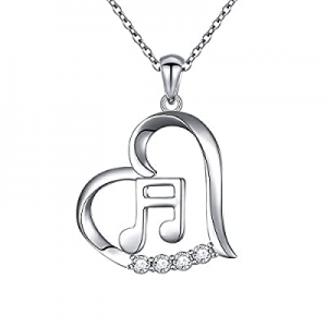 (Musical Note Necklace Pendant) 925 Sterling Silver Jewelry for Women Girls, 18 Inch now 50.0% off
