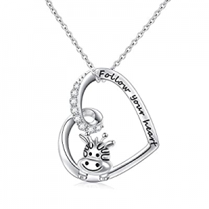 925 Sterling Silver Cute Animal Heart Pendant Necklace with Words Engraved now 50.0% off , Chain 1..