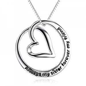 50.0% off S925 Sterling Silver Always My Sister Forever My Friend Love Heart Pendant Necklace Bff ..