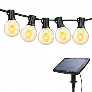 Torkase 27ft Solar Powered Globe LED String Lights now 40.0% off , 27 x G40 Edison Bulbs, 25 x Dro..