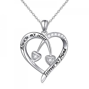 30.0% off S925 Sterling Silver Always My Sister Forever My Friend Love Heart Pendant Necklace Bff ..
