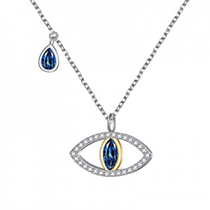 925 Sterling Silver Blue Evil Eye Pendant Necklace for Women Teen Girls Protection Jewelry now 50...