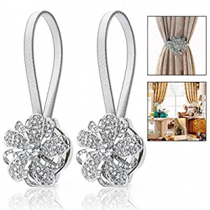30.0% off FlyCloud 2pcs Magnetic Curtain Tiebacks Crystal Tie Backs Buckle Clips Hook Silver Magne..