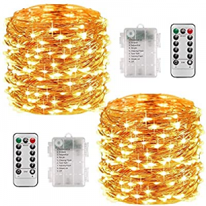 Fairy Lights Battery Operated 2 Pack now 50.0% off , 33 Feet 100 LED String Lights with Remote Con..