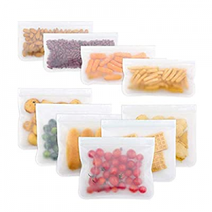 Reusable Storage Bags 10 Pack Leak Proof Freezer Bags(6 Reusable Sandwich Bags + 4 Reusable Snack ..