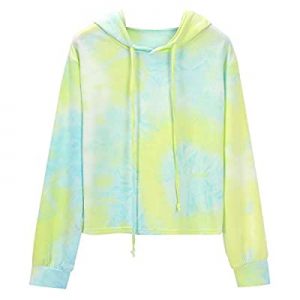 Women Tie Dye Sweatshirt Long Sleeve Gradient Hoodie Pullover Fashion Graphic Drawstring Crop Tops..