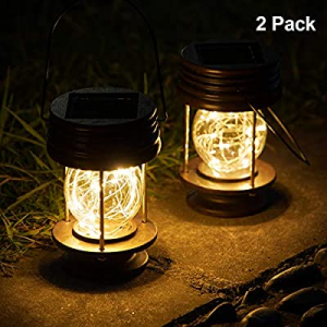 pearlstar Solar Lanterns Outdoor - Hanging Solar Landscape Lights Waterproof Table Lamps with Retr..