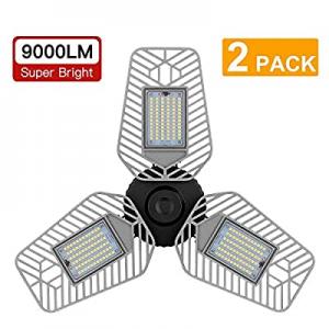 LZHOME 2-Pack LED Garage Lights now 23.0% off , Deformable LED Garage Ceiling Lights 9000 Lumens, ..