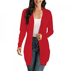 IHOT Women's Long Sleeve Open Front Lightweight Long Knit Cardigan Sweater with Pockets now 30.0% ..