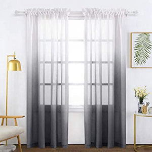 70.0% off Bermino Faux Linen Sheer Curtains Voile Rod Pocket Semi Sheer Curtains for Bedroom Livin..