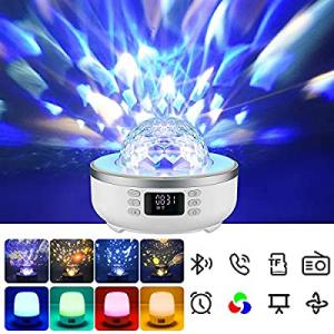 Star Projector Night Light Bluetooth Speaker Bedside Table Lamp with Alarm Clock FM Radio 360 Degr..