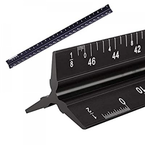 50.0% off 12 Inch Architectural Scale Ruler Metal Triangular Ruler Drafting Tool for Blueprints St..
