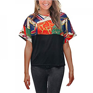 One Day Only!VZULY Women's Short Sleeve T Shirt Printed Splice Tops Casual Loose Blouses now 75.0%..