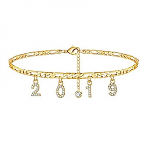 One Day Only!Turandoss Birth Year Number Ankle Bracelets for Women now 65.0% off , 14K Gold Filled..