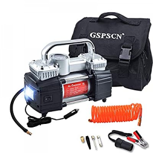 One Day Only!GSPSCN Silver Dual Cylinder 12V Air Compressor Pump for Car now 5.0% off , Heavy Duty..