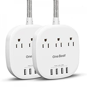 Power Strip 2 Pack now 15.0% off , Desktop Charging Station with 3 Outlet 4 USB Ports 4.5A, Flat P..